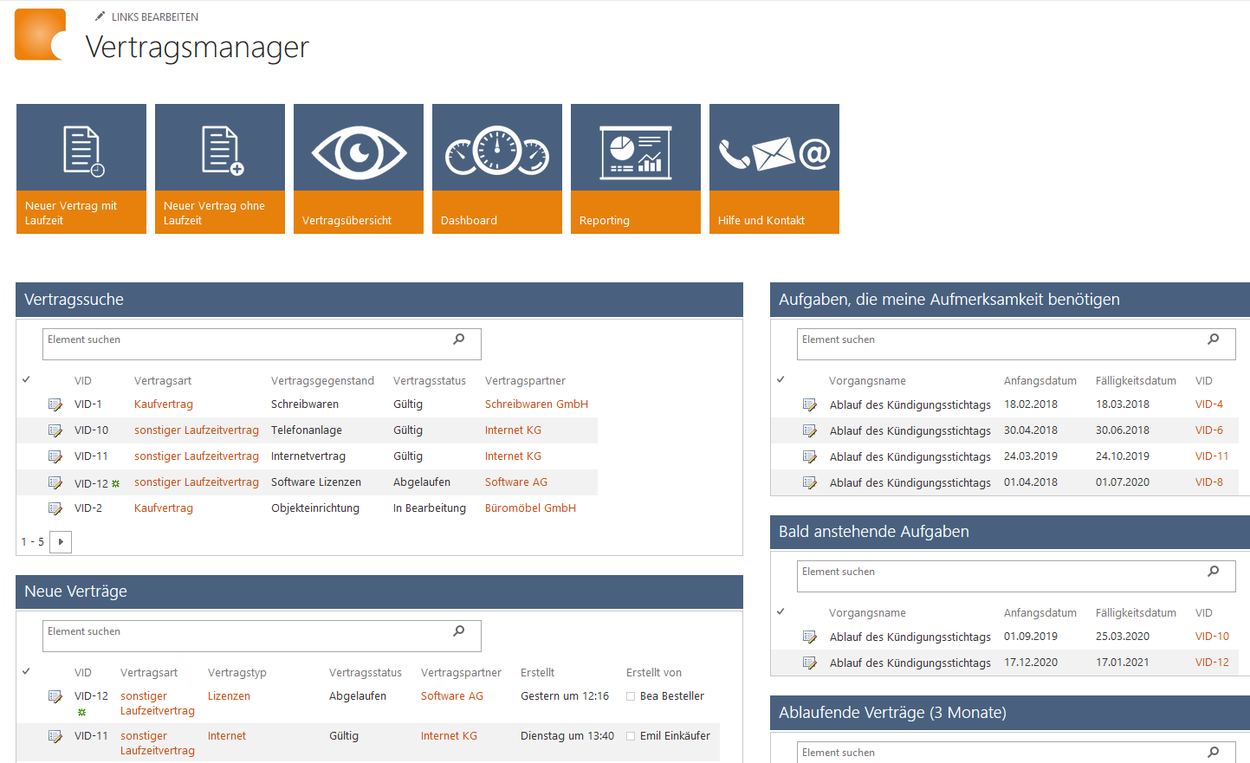 Vertragsmanagement Office 365 SharePoint Online