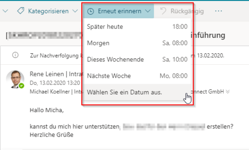 Reminder Outlook Web App Office 365
