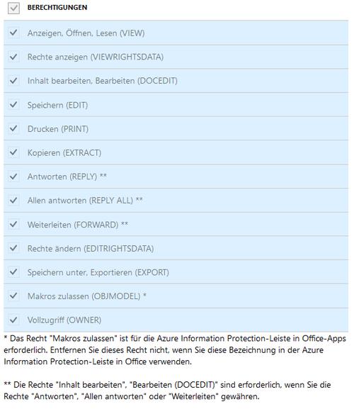 AIP Berechtigungen Azure Information Protection